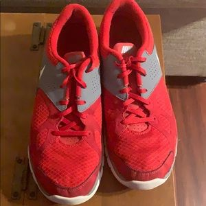 Red and white Nike Men shoe
